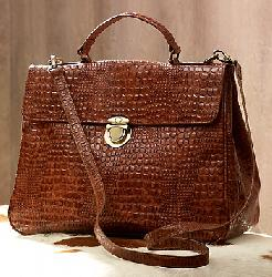 Croco-Embossed Satchel Bag